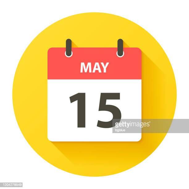 5月15日 - フラットなデザインスタイルで丸い毎日のカレンダーアイコン - 五月点のイラスト素材/クリップアート素材/マンガ素材/アイコン素材
