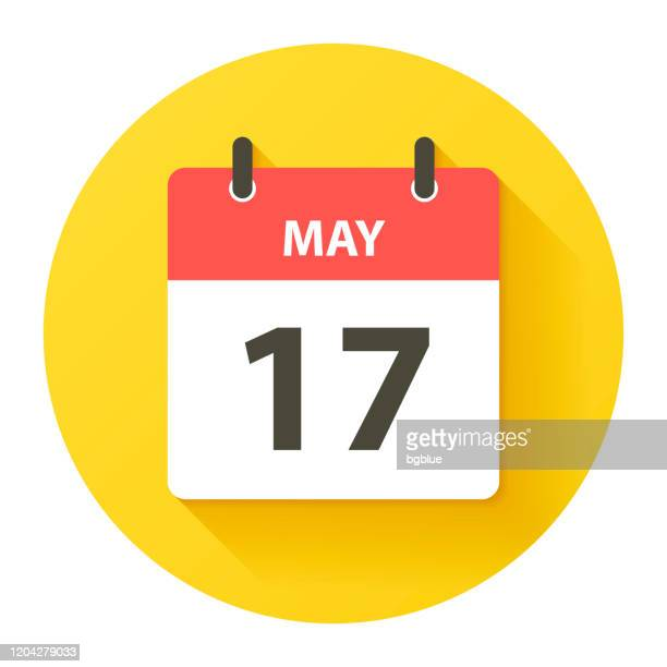 may 17 - round daily calendar icon in flat design style - may stock illustrations