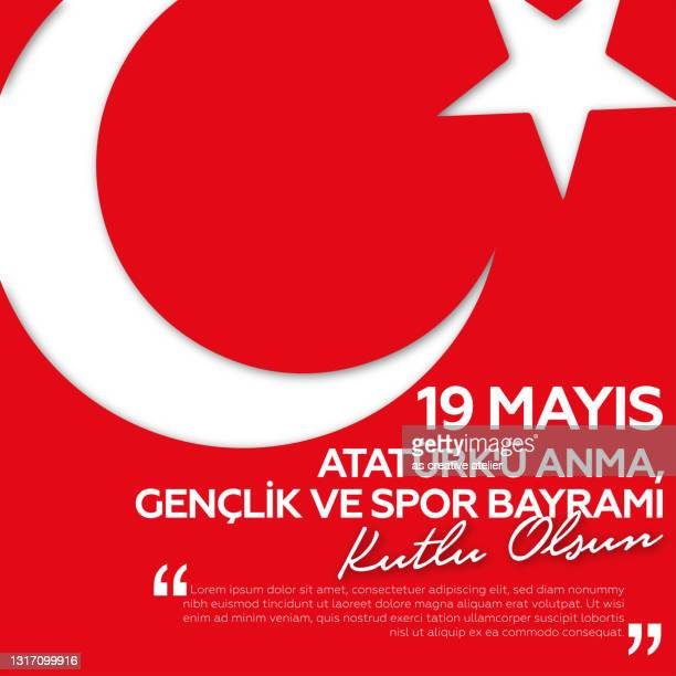 may 19, commemoration of ataturk, youth and sports eid greeting card design. - may stock illustrations