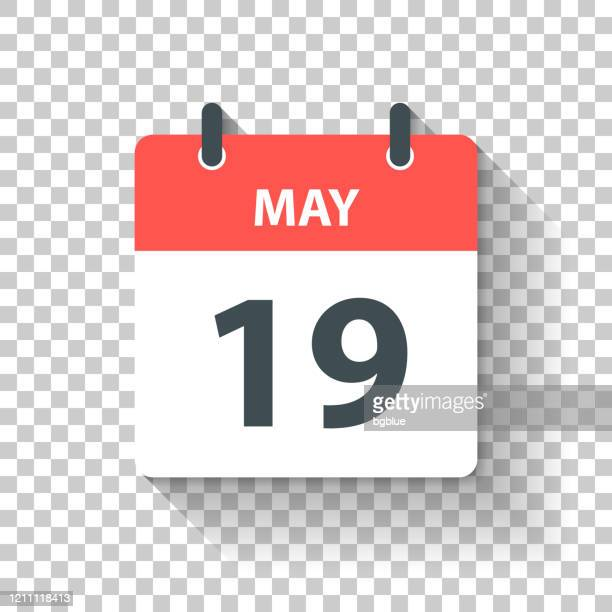 may 19 - daily calendar icon in flat design style - may stock illustrations