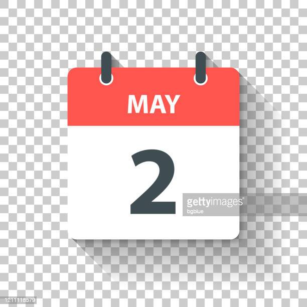 may 2 - daily calendar icon in flat design style - may stock illustrations