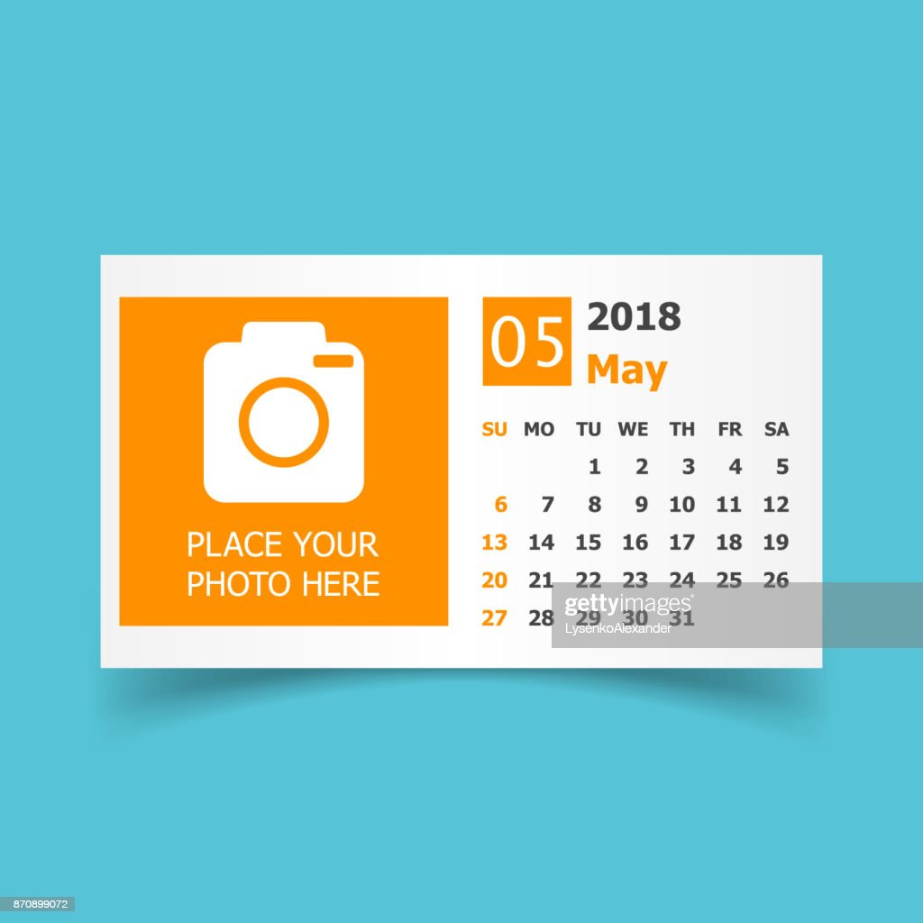 May 2018 calendar. Calendar planner design template with place for photo. Week starts on sunday. Business vector illustration.