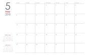 May 2018 calendar planner vector illustration