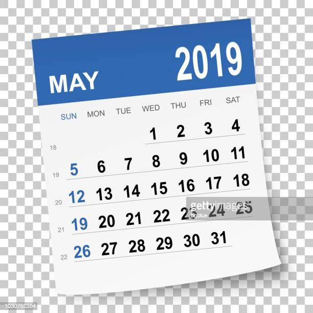 may 2019 calendar - 2019 stock illustrations