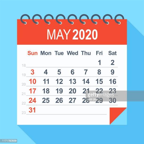 2020年5月 - カレンダー。週は日曜日から始まる - 五月点のイラスト素材/クリップアート素材/マンガ素材/アイコン素材