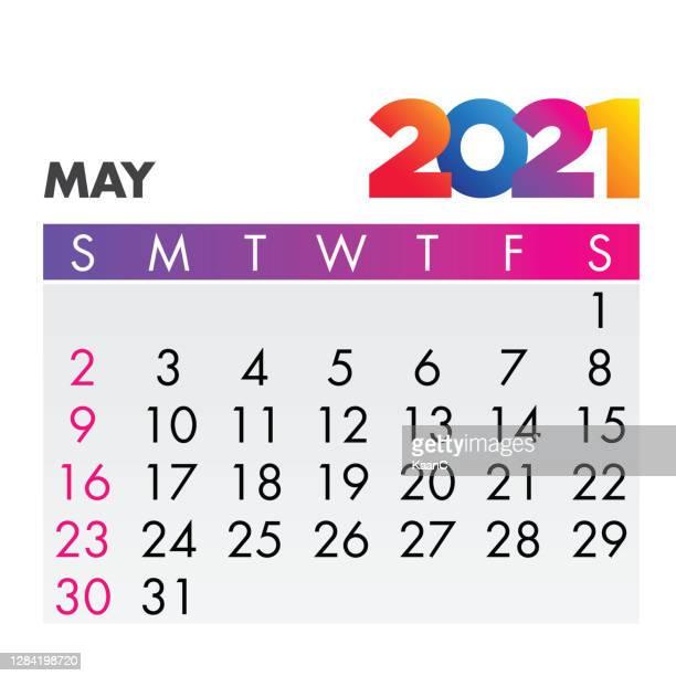 may 2021. calendar 2021 design template week start on sunday. stock illustration - may stock illustrations