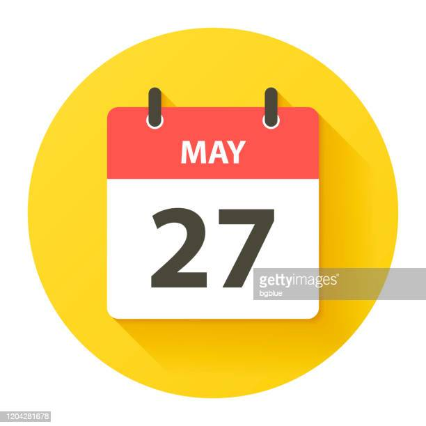 may 27 - round daily calendar icon in flat design style - may stock illustrations