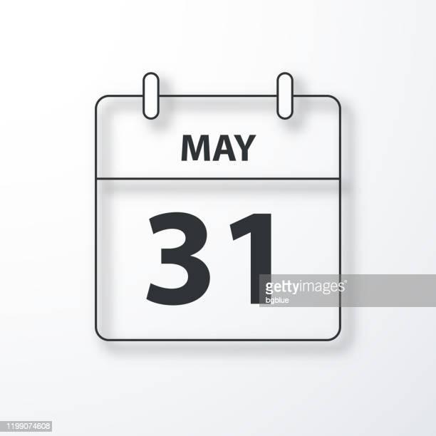 illustrations, cliparts, dessins animés et icônes de 31 mai - calendrier quotidien - contour noir avec ombre sur fond blanc - mois de mai