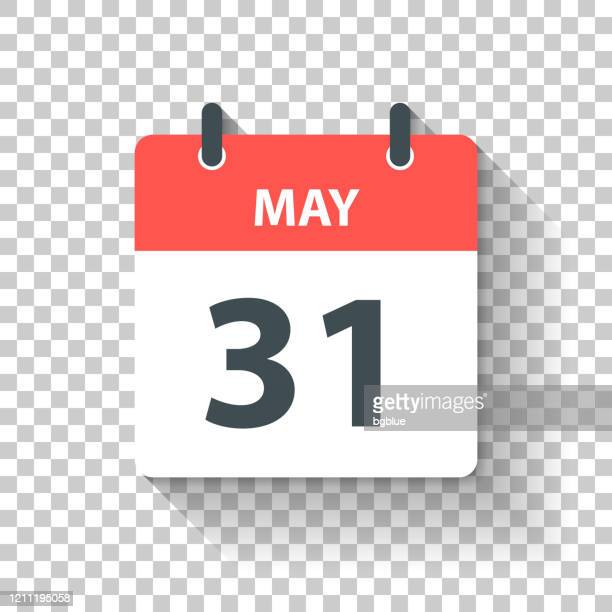 may 31 - daily calendar icon in flat design style - may stock illustrations