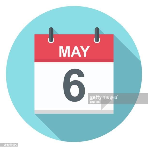 ilustrações, clipart, desenhos animados e ícones de 6 de maio - ícone de calendário - número 6