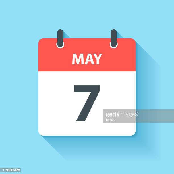 may 7 - daily calendar icon in flat design style - may stock illustrations
