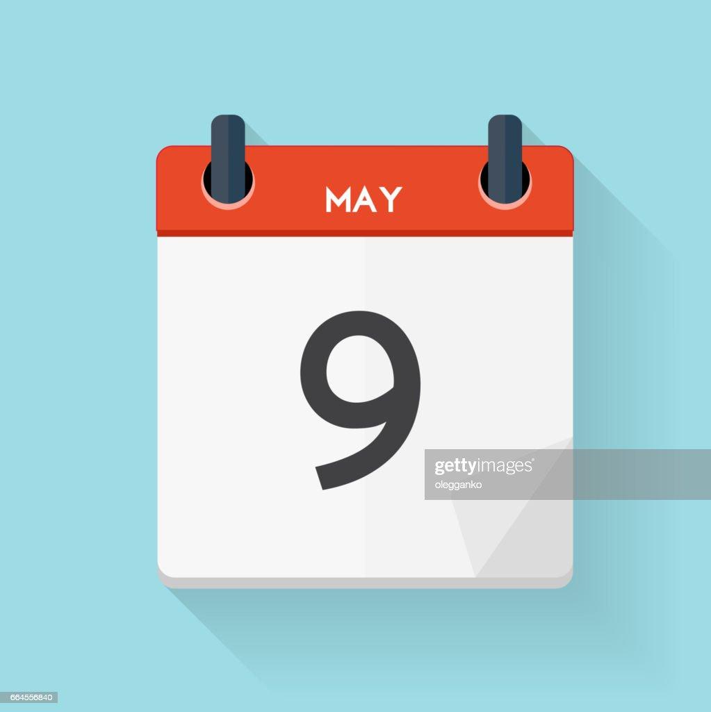 May 9 Calendar Flat Daily Icon. Vector Illustration Emblem. Elem