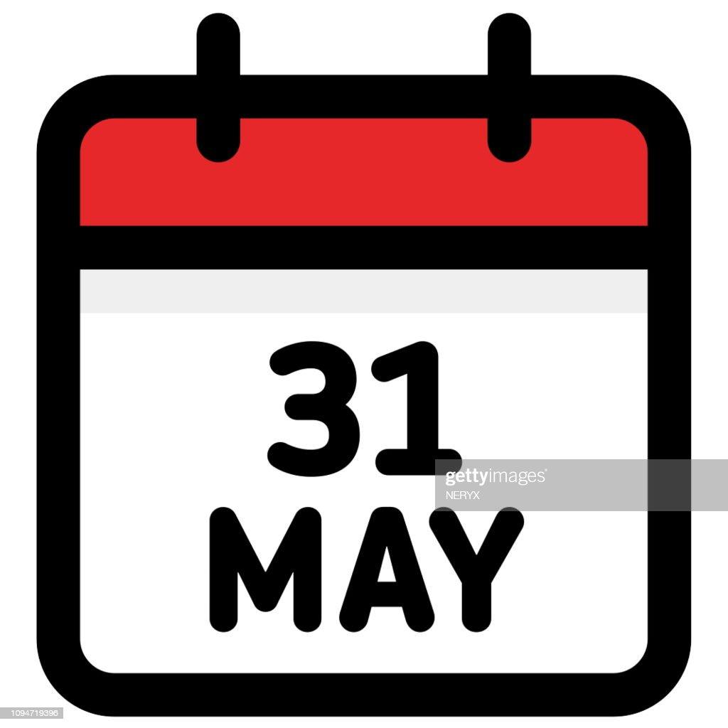 31. May - Calendar Icon - Vector Illustration