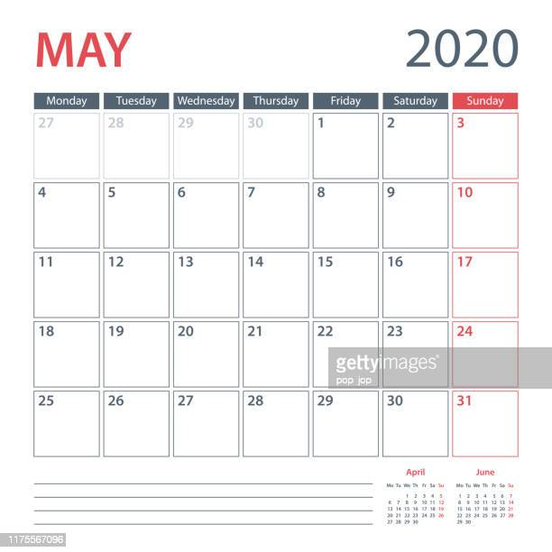 2020年5月カレンダープランナーベクトルテンプレート。週は月曜日から始まります - 五月点のイラスト素材/クリップアート素材/マンガ素材/アイコン素材