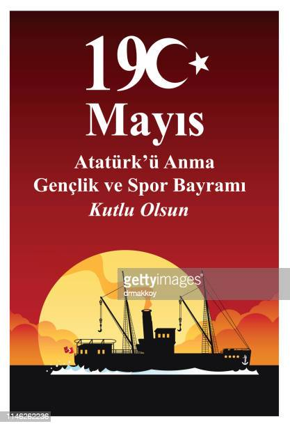19 may, commemoration of atatürk, youth and sports day - may stock illustrations