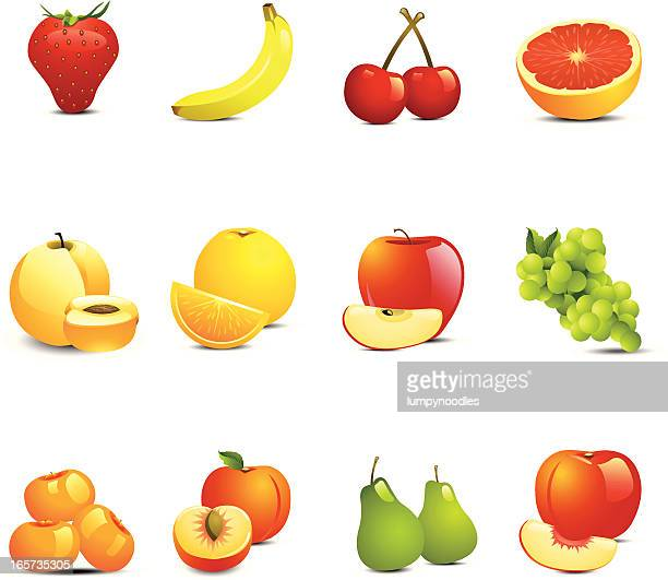 May different colorful fruit icons on white background