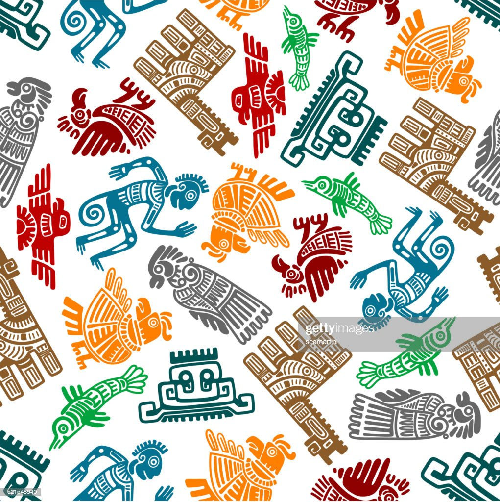 Mayan and aztec tribal totems seamless pattern