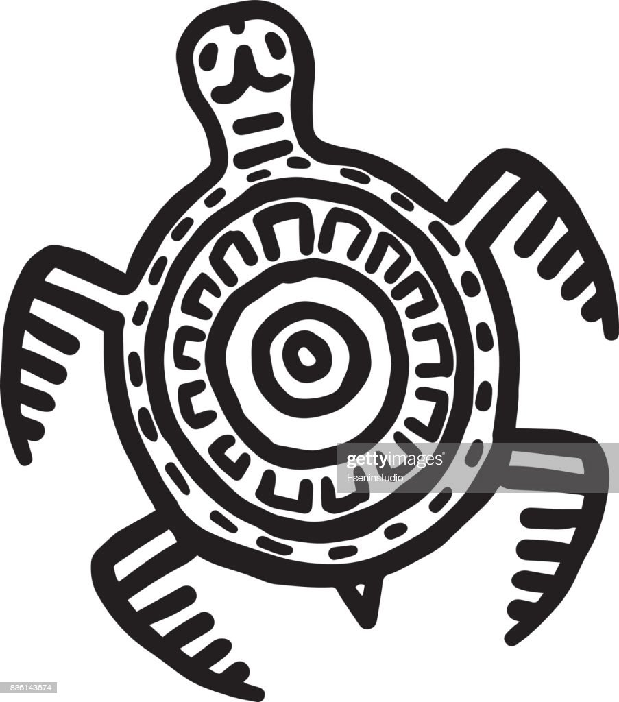 Mayan art animals vector. Slow turtle.