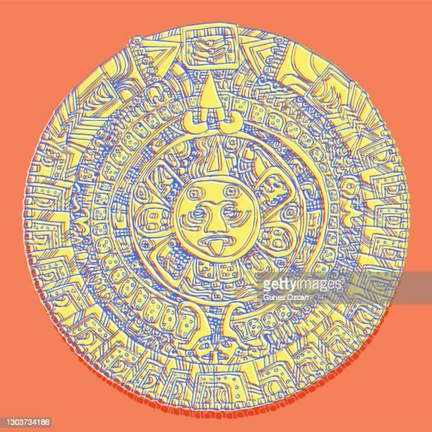 ilustraciones, imágenes clip art, dibujos animados e iconos de stock de calendario maya - diseño plano - calendario maya dibujado a mano - dibujo de línea - calendario maya