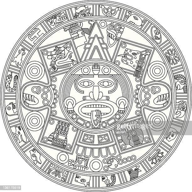 ilustraciones, imágenes clip art, dibujos animados e iconos de stock de calendario maya de ilustración - calendario maya