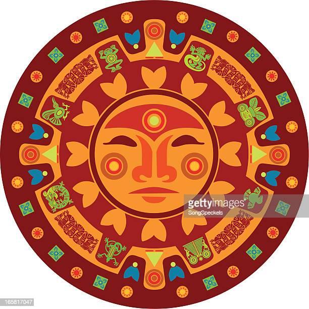 ilustraciones, imágenes clip art, dibujos animados e iconos de stock de calendario maya - calendario maya