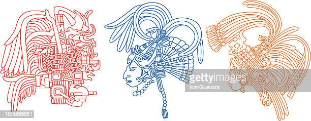 mayan heads 1 - archaeology stock illustrations