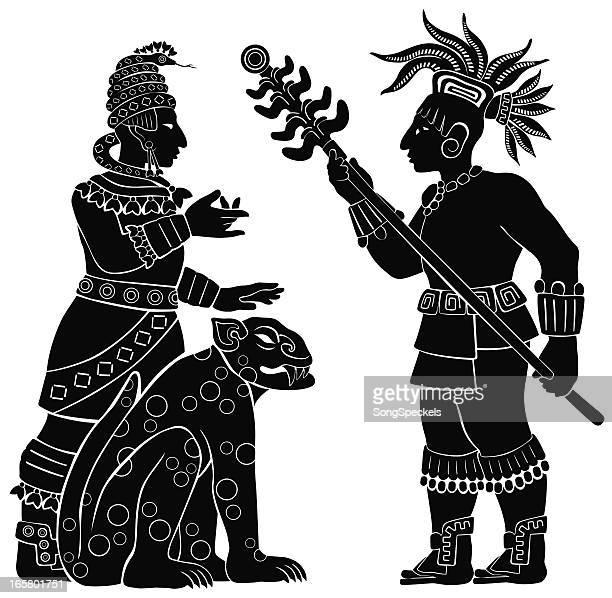 Maya Männern Silhouetten