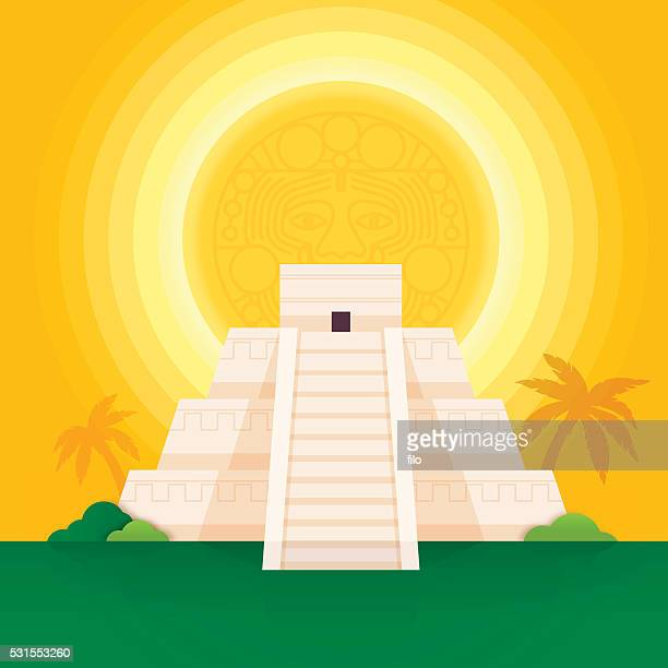 mayan pyramid - aztec stock illustrations