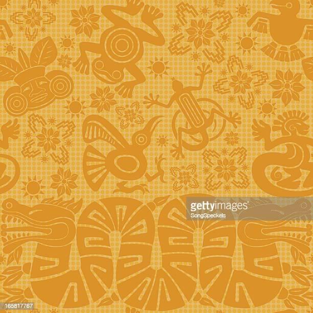 mayan seamless pattern - aztec stock illustrations