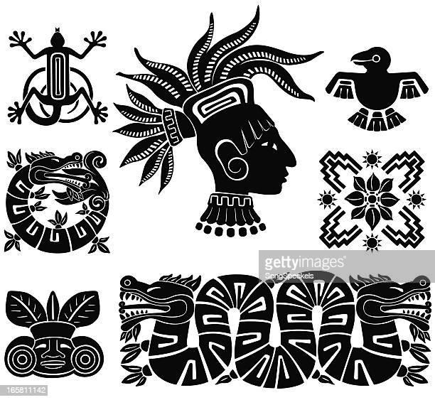 mayan silhouette illustrations - tribal art stock illustrations