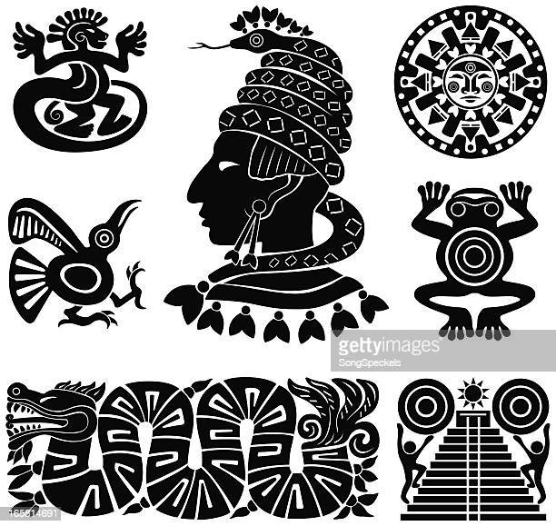 ilustraciones, imágenes clip art, dibujos animados e iconos de stock de maya siluetas ilustración - calendario maya