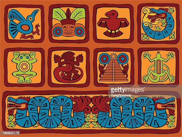 ilustrações de stock, clip art, desenhos animados e ícones de maia estilizado blocos - astecas