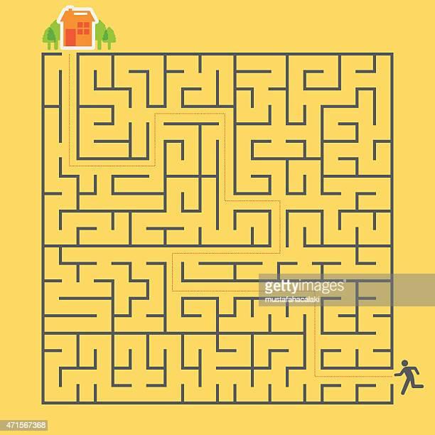 illustrazioni stock, clip art, cartoni animati e icone di tendenza di labirinto e ragazzo - intrico