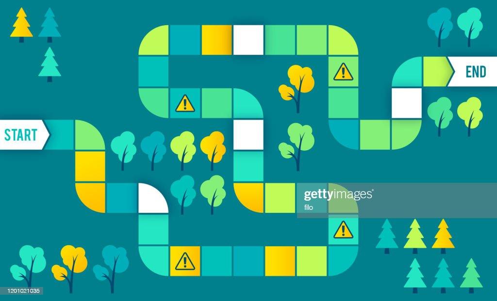 Maze Brett Spiel Puzzle Schritte Prozess : Stock-Illustration