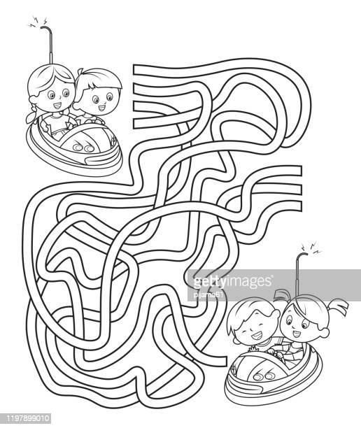 maze, children on funfair dodgems - green car crash stock illustrations