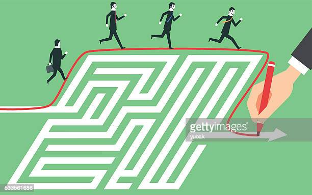 maze clever solution - accessibility stock illustrations, clip art, cartoons, & icons