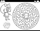 maze color book with girl and puppy