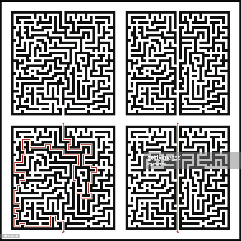 Maze; Difficult & Easy plus solutions