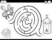 maze game coloring book with bee and hive