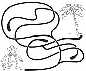 Maze game for kids. Help the monkey to get to the coconut palm tree. Coloring page.