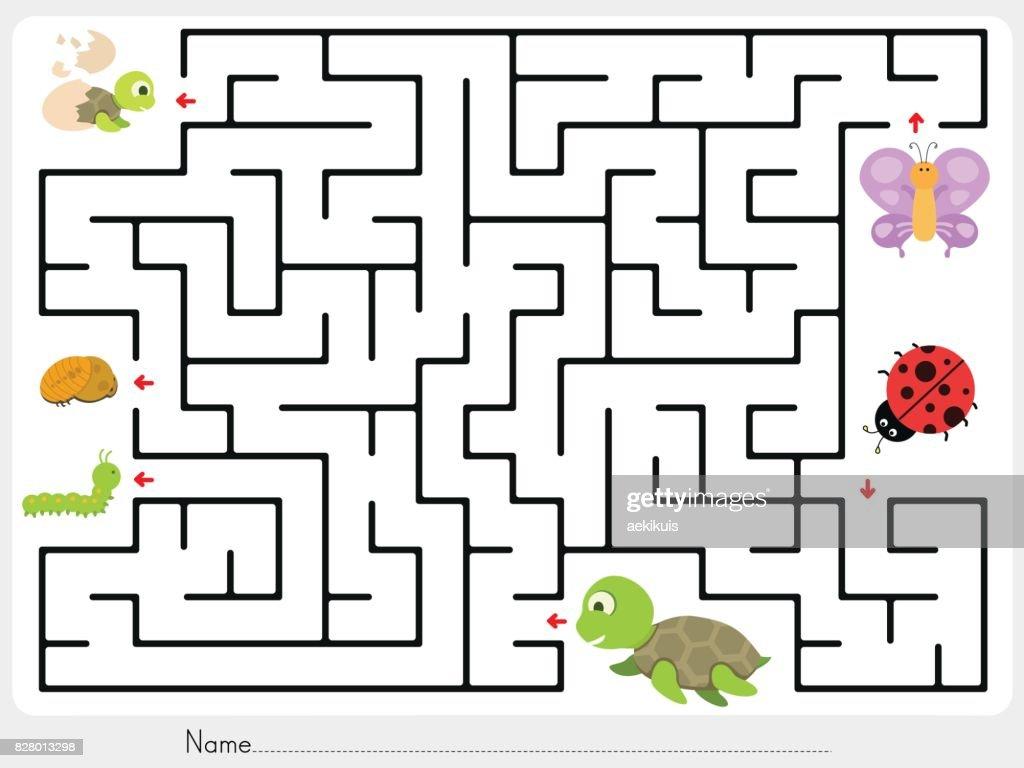 Labyrinth Spiel Match Tier Schmetterling Marienkäfer Und Schildkröte ...