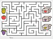 Maze game: Pick fruits box - worksheet for education