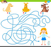 maze game with cartoon dogs and girl