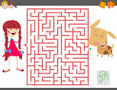 maze game with cartoon girl and her dog