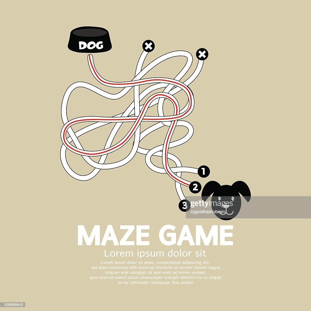 Maze Game With Dog And Bowl : Vector Art