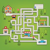 Maze game with roads, car, home, tree, gas station