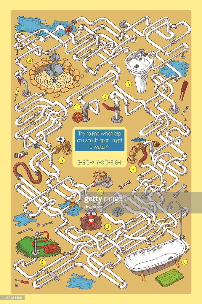 Maze Game with Tubes, Valves and Sanitary Engineering