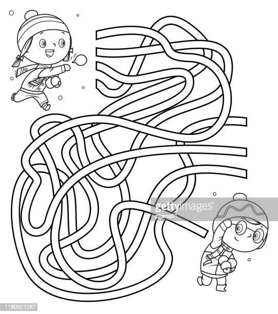 illustrazioni stock, clip art, cartoni animati e icone di tendenza di maze, kids playing with snowball - intrico