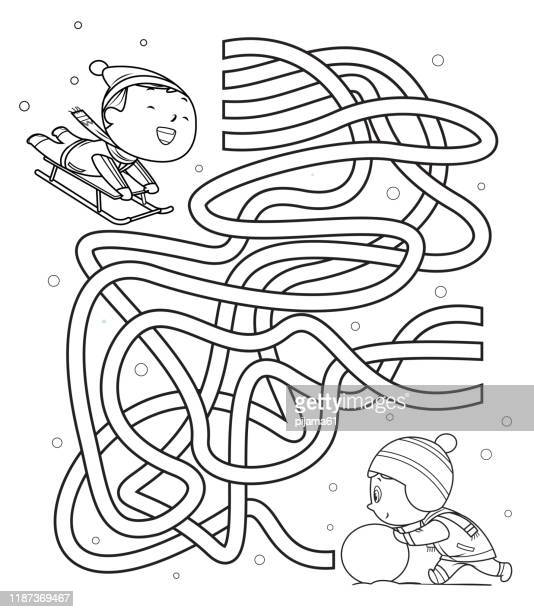 maze, kids sliding and making snowmen - winter sport stock illustrations