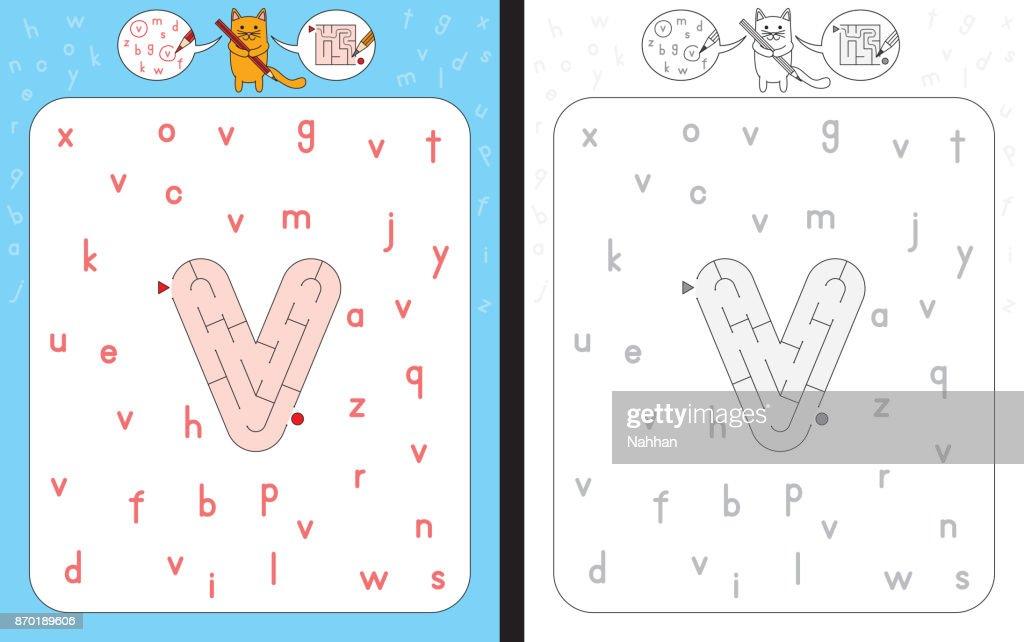 Maze letter v
